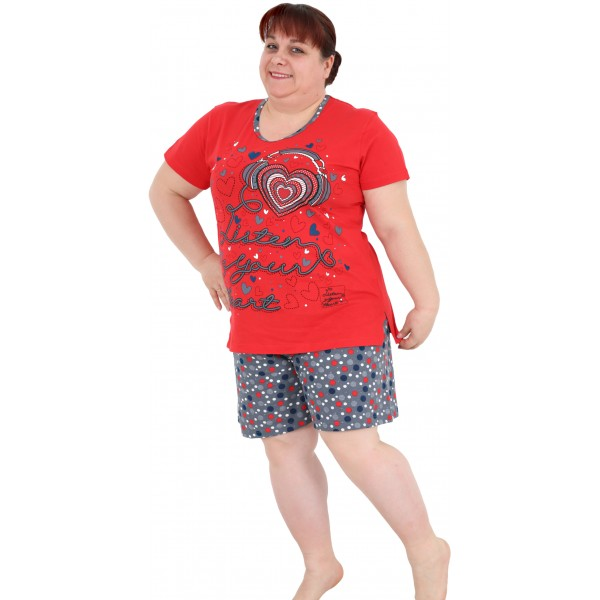 Pijama Talla Grande Corto Manga Corta Mujer Listen