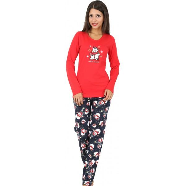 Pijama Perchado/Felpa Largo Manga Larga Mujer Muñeco de Nieve