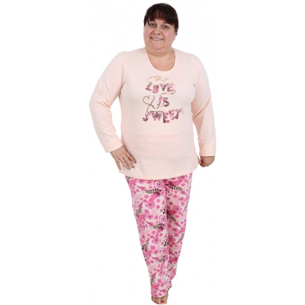 Pijama Talla Grande Perchado/Felpa Largo Manga Larga Mujer Love Sweet
