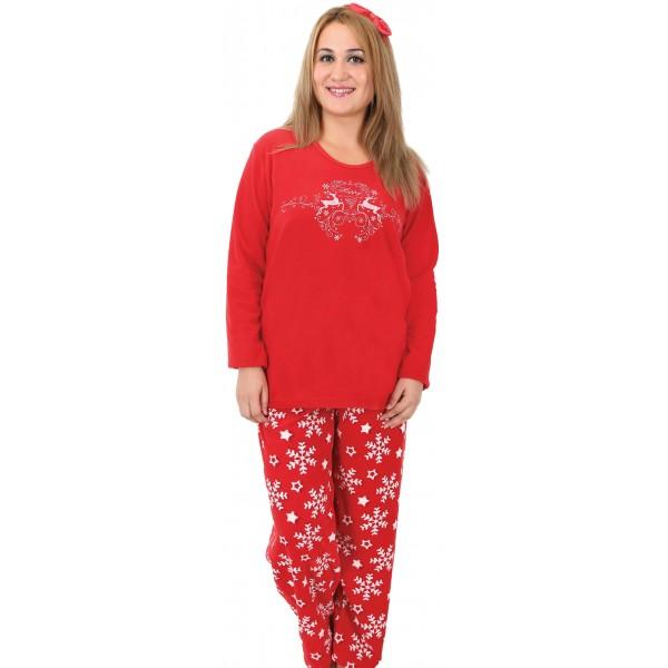 Pijama Talla Grande Polar Largo Manga Larga Mujer Renos