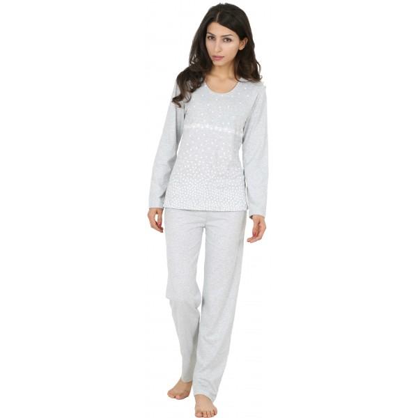 Pijama de Mujer Largo de Manga Larga Estrellitas