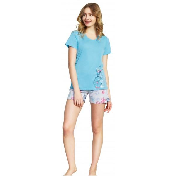 Pijama Corto Manga Corta Mujer Bici Flores