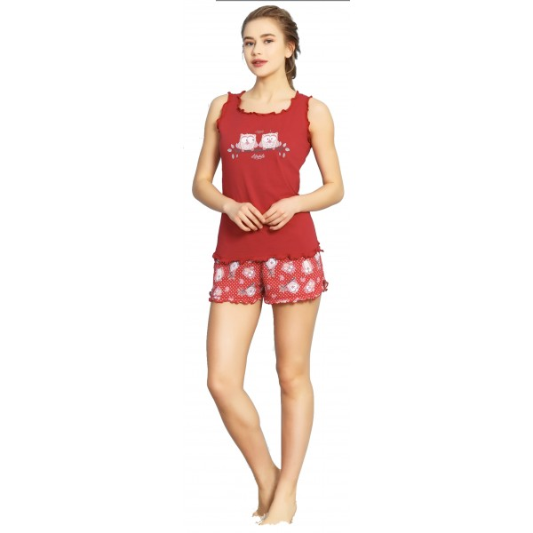 Pijama Corto Tirante Ancho Mujer Buhos Lifestyle