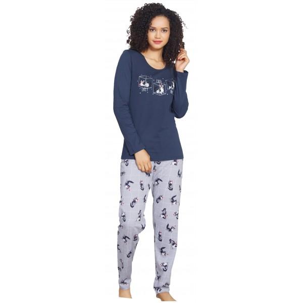 Pijama Largo Manga Larga Pantalon Gatos