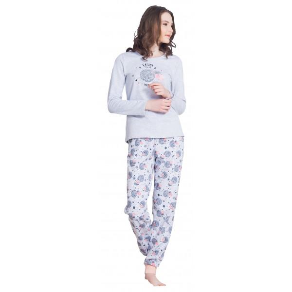 Pijama Largo Perchado/Felpa Manga Larga Mujer Oveja Enjoy