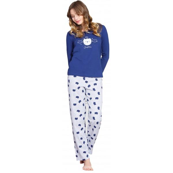 Pijama Largo Manga Larga Mujer Cara de Gatos