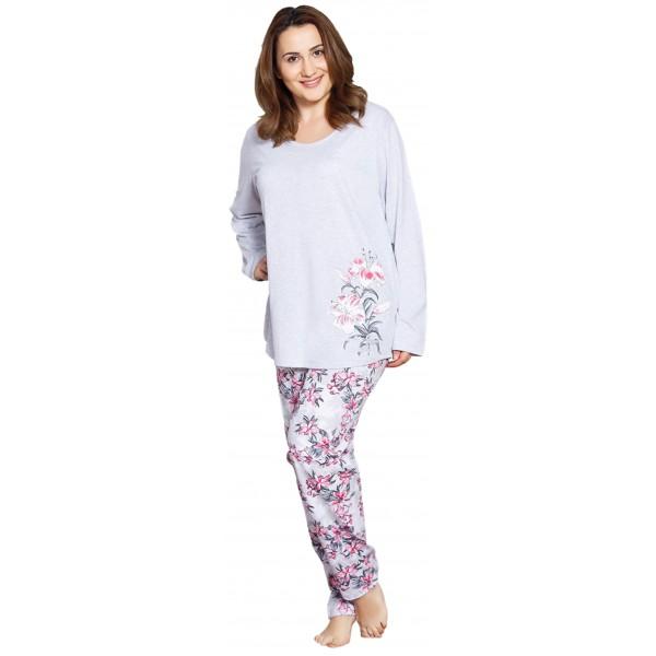 Pijama Talla Grande Largo Manga Larga Mujer Flores Grandes