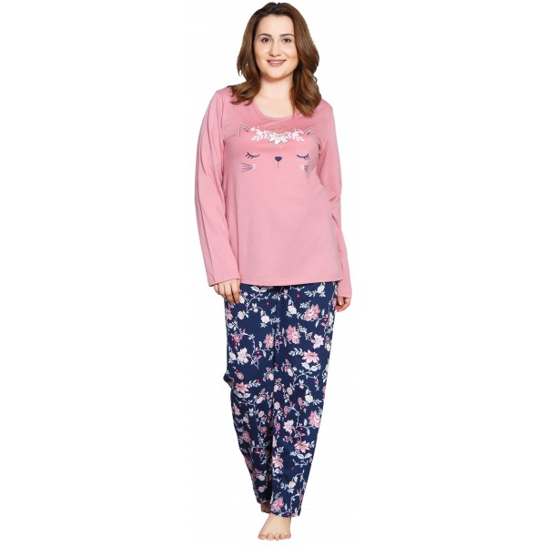 Pijama Talla Grande Largo Manga Larga Mujer Cara de Gato