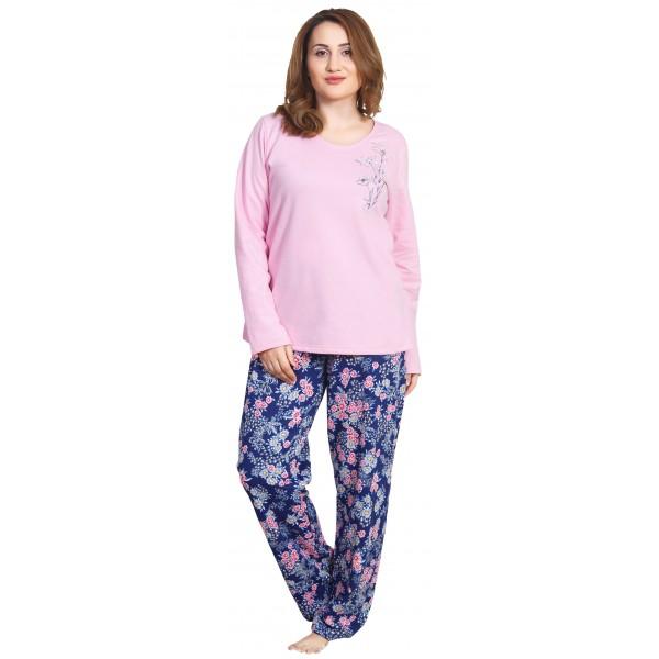 Pijama Talla Grande Perchado/Felpa Largo Manga Larga Mujer Flores