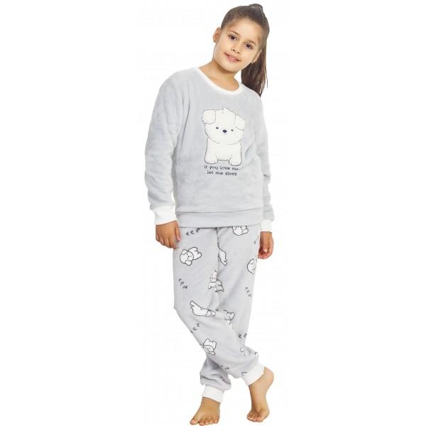 Pijama Polar/Coralina Largo Manga Larga Mujer Perrito