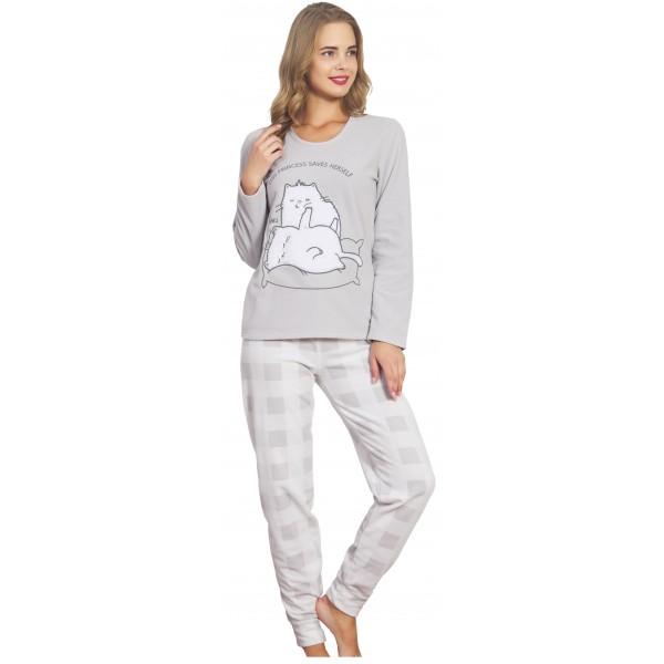 Pijama Polar Largo Manga Larga Mujer Puño 2 Gatos