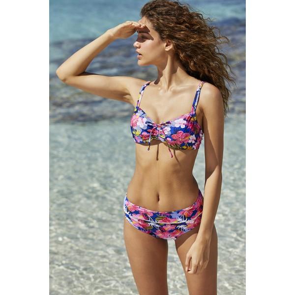 Bikini Mujer Baño Reductor Flores Miami Copa C