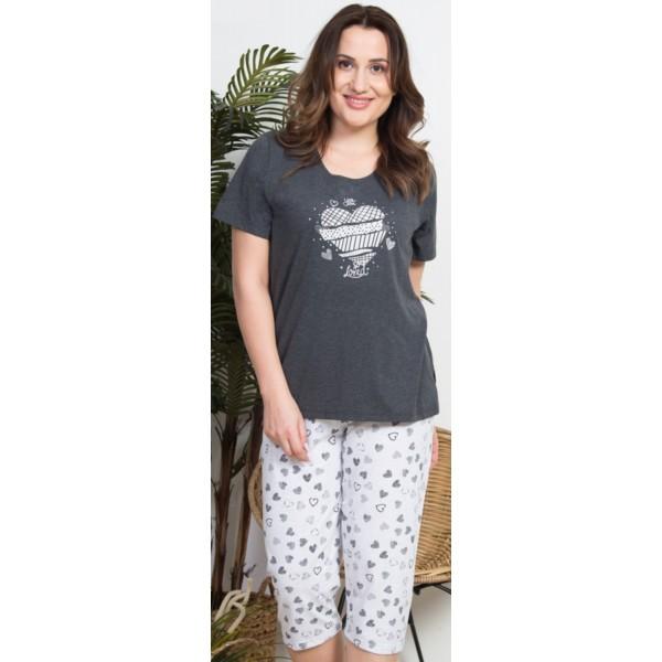 Pijama Talla Grande Pirata Manga Corta Mujer Corazones