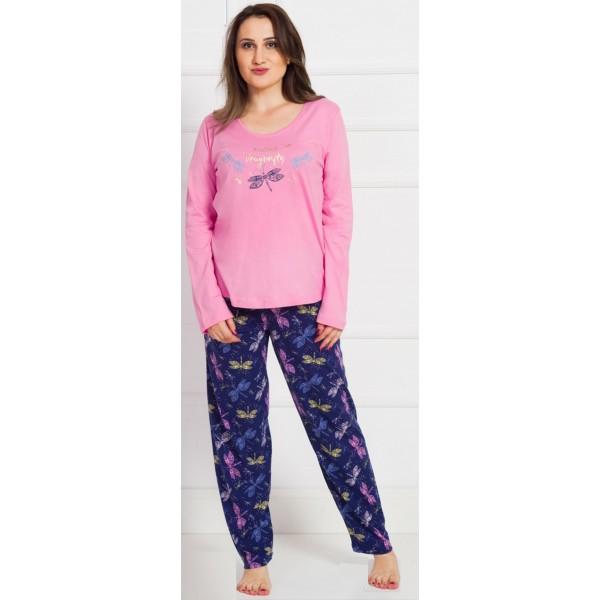 Pijama Talla Grande Largo Manga Larga Mujer Mariposa Libelula