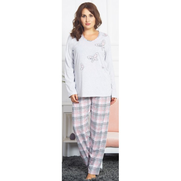 Pijama Talla Grande Largo Manga Larga Mujer Mariposas Cuadros