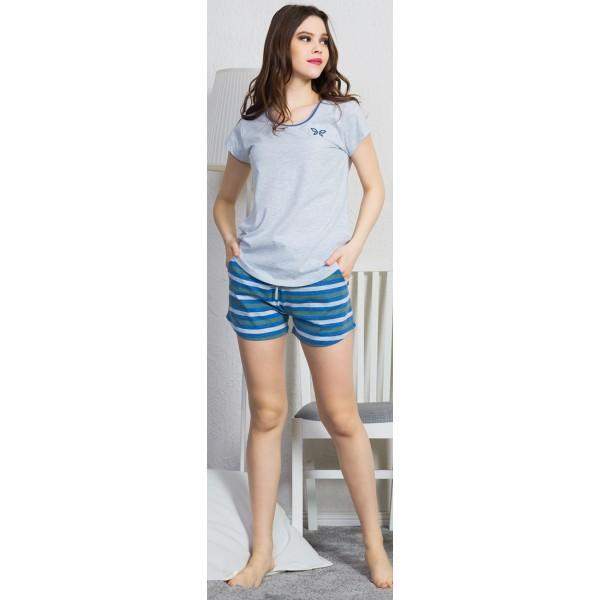 Pijama Corto Manga Corta Mujer Mariposa