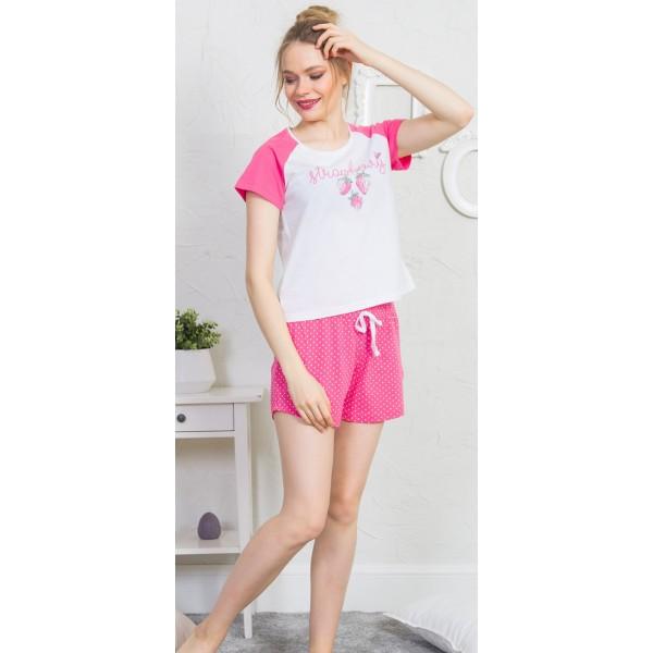 Pijama Corto Manga Corta Mujer Fresas