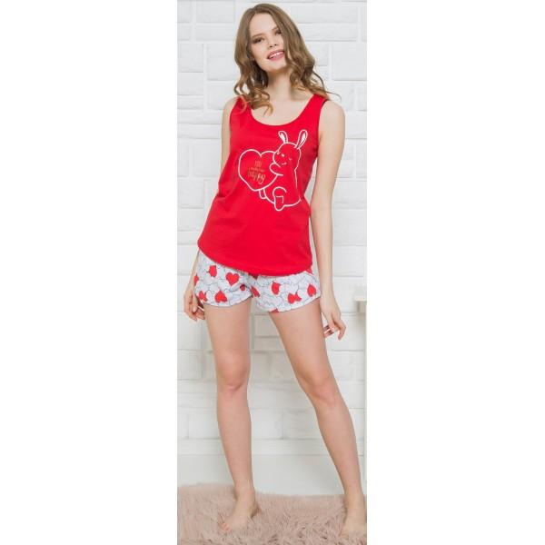 Pijama Corto Tirante Ancho Mujer Oso Corazon