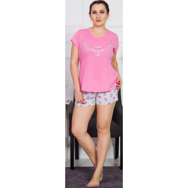 Pijama Talla Grande Corto Manga Corta Mujer Hojas