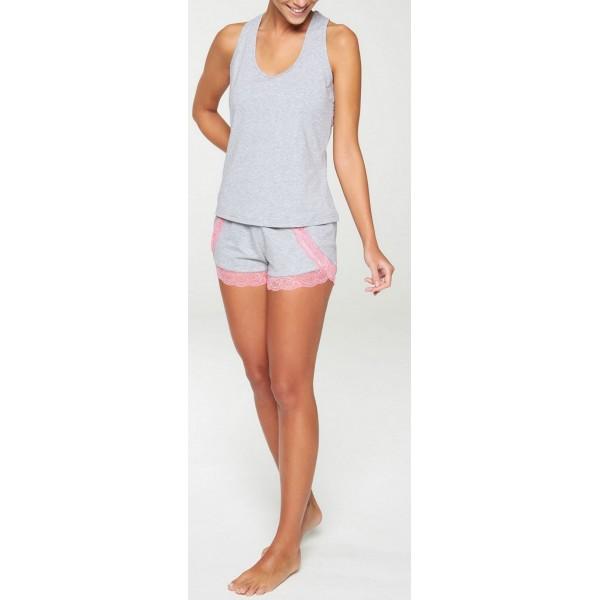 Pijama Corto Tirante Ancho Mujer Puntilla Rosa