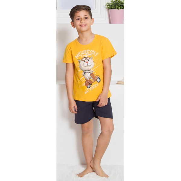 Pijama Corto Manga Corta Niño Gato