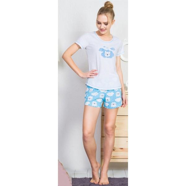Pijama Corto Manga Corta Mujer Oso Nube