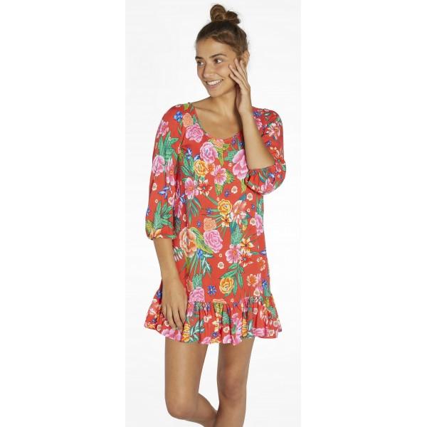 Vestido Playa Mujer Flores Living Coral