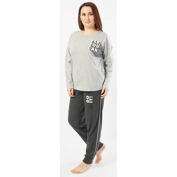Pijama Talla Grande Largo Manga Larga Mujer Yes