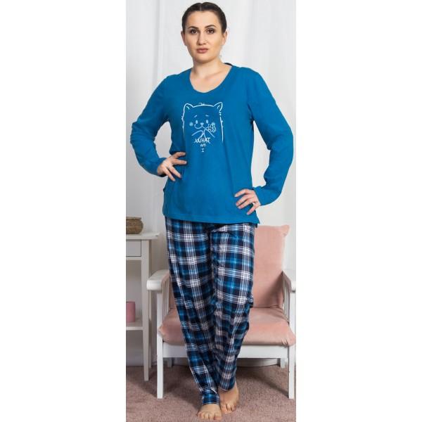 Pijama Talla Grande Largo Manga Larga Mujer Gato Cuadro