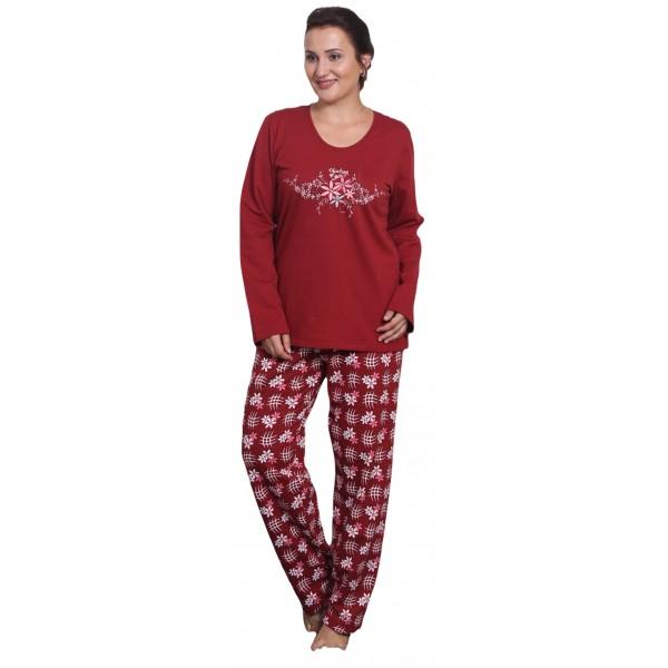 Pijama Talla Grande Perchado/Felpa Largo Manga Larga Mujer