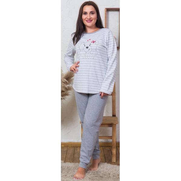 Pijama Talla Grande Perchado/Felpa Largo Manga Larga Mujer Hello