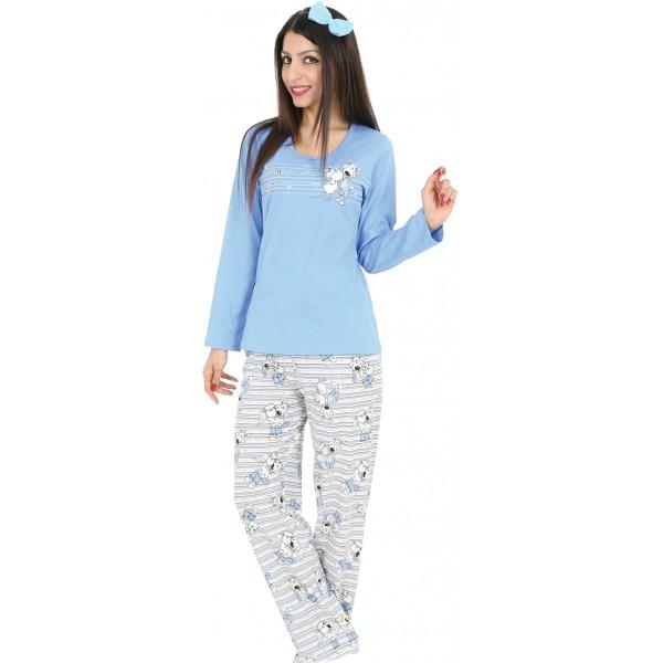Pijama Largo Manga Larga Mujer Pareja de Ovejas