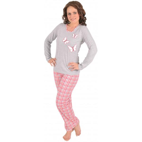 Pijama Largo Manga Larga Mujer Mariposas